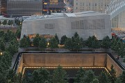 9/11 museum: elevated southern view at dusk with southern memorial-pool, total