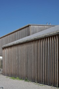 A2 Gotthard motorway-station: façade-detail with silver-fir-battens