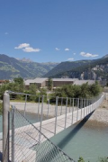 A2 Gotthard motorway-station: western-view with suspension-bridge