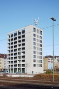 Güterstraße 30, Pforzheim: south-east corner, view from station-platform