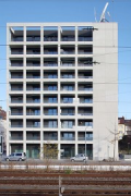 Güterstraße 30, Pforzheim: South-façade, view from station-platform