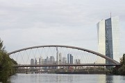 The East Harbour Bridge forms Frankfurt's eastern city entrance for shipping, on right the EZB