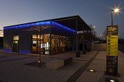Erftstadt railway station: south-eastern view of station-cafe - dusk