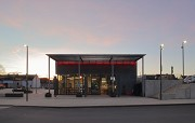 Erftstadt railway station: eastern view of station-cafe - dusk