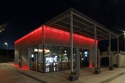 Erftstadt railway station: south-eastern view of station-cafe at night, fig. 1
