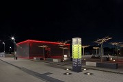 Erftstadt railway station: north-eastern view of cycle-station at night, fig. 2