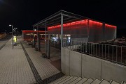 Erftstadt railway station: north-eastern view of station-cafe at night