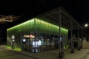 Erftstadt railway station: south-eastern view of station-cafe at night, fig. 2