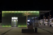 Erftstadt railway station: southern view of station-cafe at night