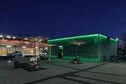 Erftstadt railway station: north-western view of station-cafe at night