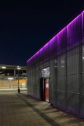 Erftstadt railway station: cycle-station entrance at night, fig. 2