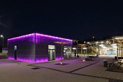 Erftstadt railway station: south-western view of station-cafe at night