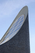 Church by the Sea: the bell-towers top is done in cladded precast-concrete