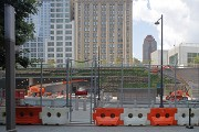 Liberty Park: suspended garden; in front: WTC's Vehicle Security Center access
