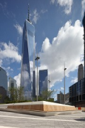 Liberty Park: planter with One World Trade Center