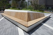 Liberty Park: view of planter seating-area