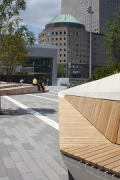 "Liberty Park: ""Old Teak"" as seating surface"