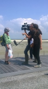 The first bridge-users have been interviewed by TV