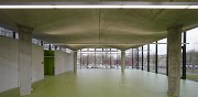 glass-cladded textile-concrete pavillon: hall facing to North, installation-boxes