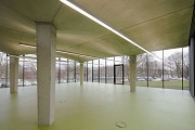 glass-cladded textile-concrete pavillon: hall facing to Northeast