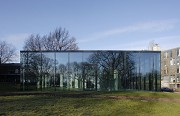 glass-cladded textile-concrete pavillon: Eastern view