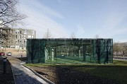 glass-cladded textile-concrete pavillon: Southern view and footway