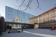 St. Leonhard-extension: square, canteen and old wing, winter