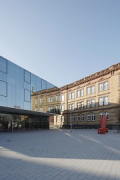St. Leonhard-extension: square, canteen and old wing, portrait