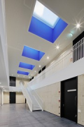 TBZ of IHK-Cologne: central floor, skylights in Le Corbusier colours