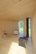 Timber Prototype House, Apolda; IBA Thüringen: interior back-view, closed air-purge