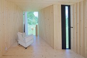 Timber Prototype House, Apolda; IBA Thüringen: interior back-view, landscape-picture