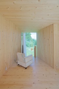 Timber Prototype House, Apolda; IBA Thüringen: interior back-view, portrait-picture