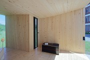 Timber Prototype House, Apolda; IBA Thüringen: interior side-view, eastern wall