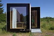 Timber Prototype House, Apolda; IBA Thüringen: frontal view, landscape-picture