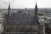 Aachen town-hall: roof-top view of palatinan area with cathedral
