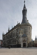 Aachen town-hall: western-view with St. Mary's tower